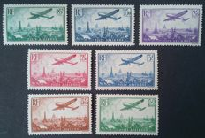 France 1936 - Airmail, Complete series aeroplane flying over Paris - Yvert n° 8-14