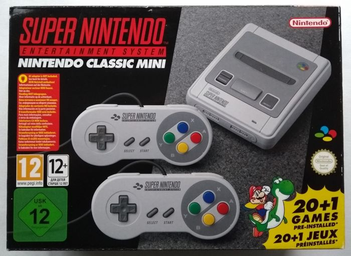 Nintendo SNES Classic Mini with 21 + 100 extra games installed: Mega Man X3 + X2 + 7, Hagane, Super Turrican 2, Castlevania Dracula X, Captain Commando, Pocky & Rocky 2, E.V.O., Chrono Trigger, Ninja Gaiden Trilogy and many, many more