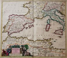 Spain, Portugal, France, Italy; J. Danckerts - Accuratissima Occidentalioris Districtus Maris Mediterranei (...) - ca. 1690
