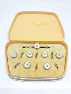 Antique Victorian 15ct/15k Gold Plate Sleeping Beauty Duck Egg Blue Turquoise Dress Shirt Studs and Tie Pin in Original Box