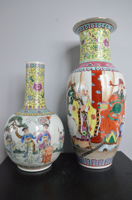 A lot of two famille jaune vases - China - Second half twentieth century