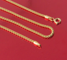 18k/750Yellow Gold Necklace - Popcorn- Modern Style- 50 cm - 3.74 gr /// No reserve price///