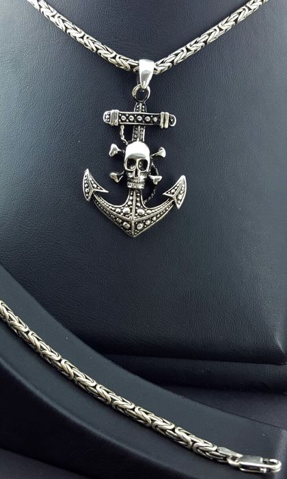 925 italian sterling silver chain with pirate cross skull pendant 925 italian sterling silver chain with pirate cross skull pendant and italian bracelet chain mozeypictures Choice Image