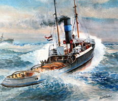 "Lithograph by Ad M. Oudes - steamtug ""EBRO"" from 1931."