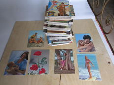 Lot of 600 new postcards from the 1970s, 100 military caricatures - Italy