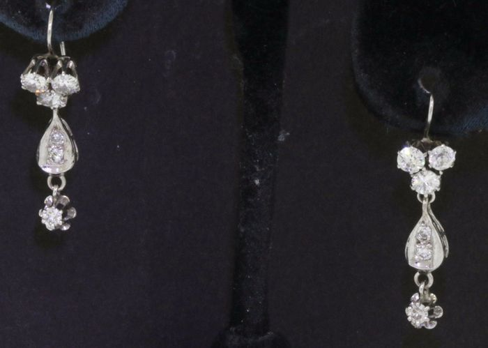"1.20 CT Gouden elegante VS H diamant dangle oorbellen ""No reserve"""