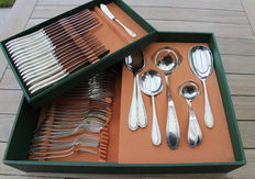Gero 90 silver plated, model 676. Complete case for 8 persons, 56 pieces. Design Georg Nilsson period 1930-1941.