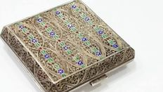 Silver and brass powder box, 20th century