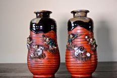 Pair of small Sumida Gawa vases - Japan - Start of 20th century