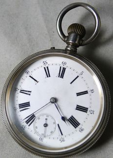Pocket watch with date and moon phases, around 1900