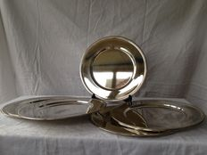 8 - silver plated under plates with pearl rim