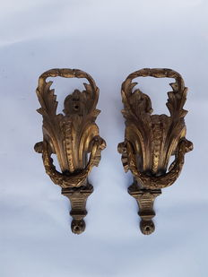 Pair of Empire style wall lamps for curtains, golden bronze, France, 20th century.