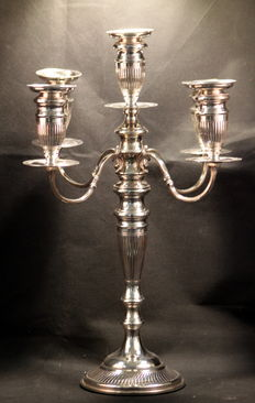 Large Antique Solid Silver Five Slot Candelabra, London, 1922