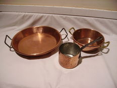 batch of skillet and pan in copper quality professional