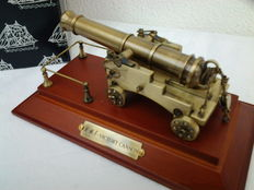 A contemporary brass scale model of long 12-pounder carriage gun from HMS Victory (1765)