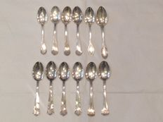 Collection of 12 small silver spoons, different manufacturers – Italy – 20th century