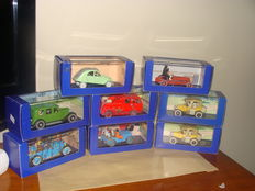 Atlas-Tintin - Scale 1/43 - Lot of 8 cars: 3 x models of various inspirations, 1 x Citroën 2 cv, 2 x Ford T, 1 x Willys Jeep, and 1 x Dennis F101