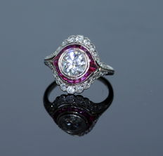 Vintage Platinum Ladies Ring With Diamonds ( 1.92 CT Total ) and Ruby's ( 0.34 CT Total )