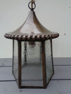 Decorative brass hallway lamp with six glass panes - The Netherlands - ca. 1930