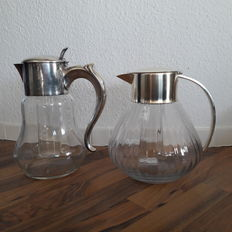 "2 Beautiful decorative  ""Kalte Ente"" jugs - Glass and Metal Silver plated"