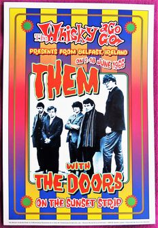 """Hippie Dance Concert """"THEM and The DOORS""""  Whiskey a GoGo Hollywood California Poster"""