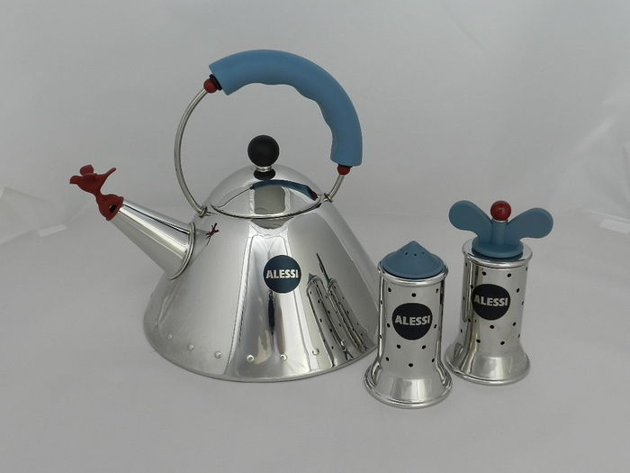Michael graves for alessi kettle pepper grinder and salt for Alessi salt and pepper shakers