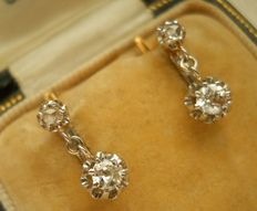 Platinum Gold 18 kt Old-cut Diamonds  Earrings 0.46 ct very good Diamond Quality.
