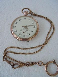 Exclusive silver Swiss men's pocket watch with gold-plated chain in rose gold, around 1928