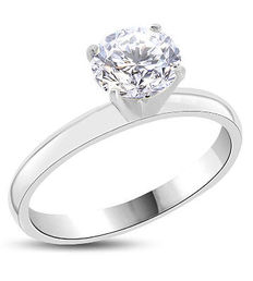 Solitaire engagement ring in white gold, 14 kt, with 1.09 ct diamond E/VS2