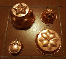 Four copper pudding moulds, Italy, 1950s