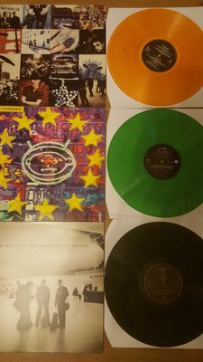 U2 Lot Of 3 Lp's On Colored Vinyl- All 3 Very Collectable!