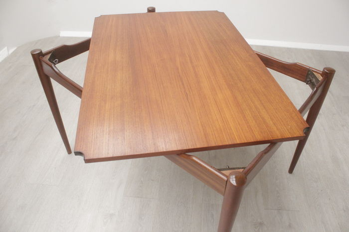 Designer Unknown Vintage Teak Wood Table With Reversible Table Top