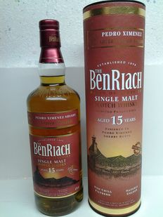 The Benriach Pedro Ximenez sherry wood finish 15 Year Old Single Malt .