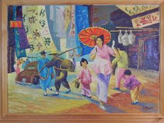 G J Bassant, (20th century)-In a main street of Honkong