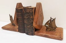 Wooden bookends with copper ships-approx.1960, the Netherlands