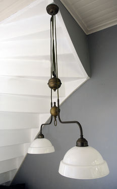 Adjustable copper ceiling lamp, 1930