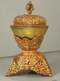 Kapala bronze/gold-plated - Tibet - end of the 20th century