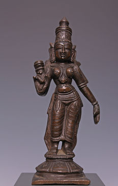 Nice bronze sculpture of a standing Maha on a base - India - 19th Century