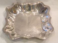 Beautiful square hammered silver bowl – Schiavon Angelo – Italy, 1960