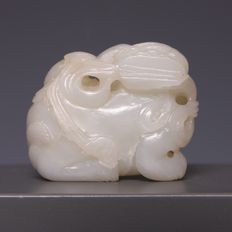 Light green jade sculpture of a kylin – China – mid 20th century