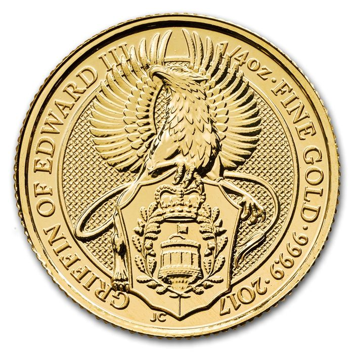 Great Britain - 25 Pounds 2017 'The Queen's Beasts' Griffin of Edward III - ¼ oz - Gold