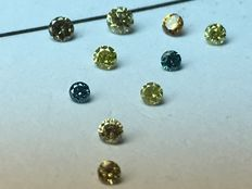 Lot of 10 diamonds 0.13 ct, mixed colours