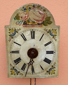 Wall clock – Painted wood – Black Forest – Southern Germany – Second half of the 19th century.