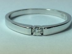 A diamond engagement ring (0.03 ct) in 14 kt white gold