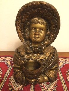 Unique antique jar with lid shaped like a portrait bust of a 19th century girl, 1920s, Germany