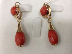 18ct Coral, and hardstone bombe drop earrings