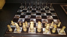 Vintage chinese hand carved brown and cream onyx with Mother of Pearl chessboard