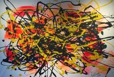 Rick Triest - The contemporary movement compositions - orange and pink marks- my dearest green and blue, tell black; yellow has arrived