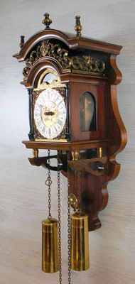 Walnut Warnink Salland wall clock - richly decorated with moon phase - 2nd half 20th century