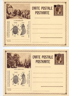 Luxembourg - Complete series 6 Propaganda cards against the Colorado Beetle, no 106, 35 centimes on 75 centimes